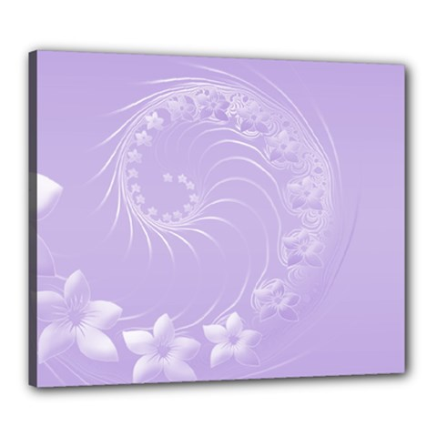 Light Violet Abstract Flowers Canvas 24  x 20  (Framed)