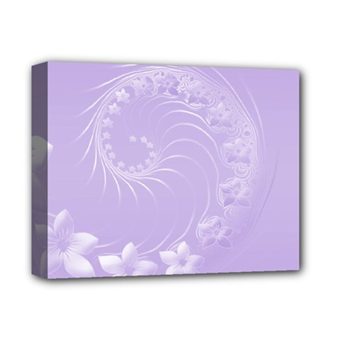 Light Violet Abstract Flowers Deluxe Canvas 14  x 11  (Framed)