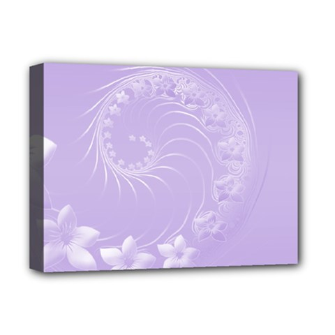 Light Violet Abstract Flowers Deluxe Canvas 16  X 12  (framed)