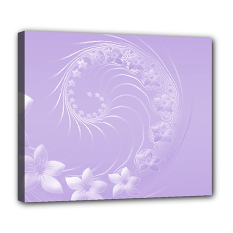 Light Violet Abstract Flowers Deluxe Canvas 24  x 20  (Framed)