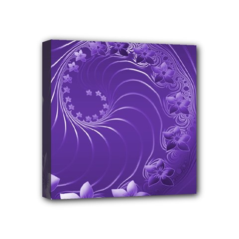 Violet Abstract Flowers Mini Canvas 4  X 4  (framed)