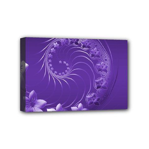 Violet Abstract Flowers Mini Canvas 6  X 4  (framed)