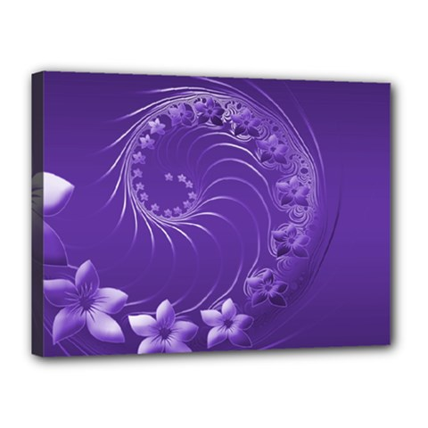 Violet Abstract Flowers Canvas 16  x 12  (Framed)