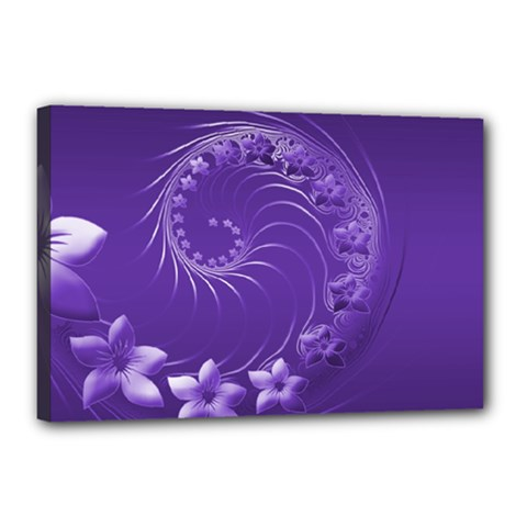 Violet Abstract Flowers Canvas 18  X 12  (framed)