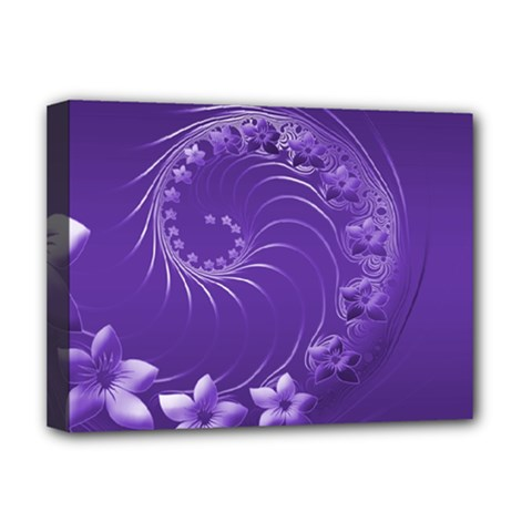 Violet Abstract Flowers Deluxe Canvas 16  X 12  (framed)