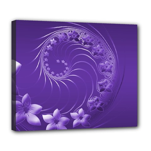 Violet Abstract Flowers Deluxe Canvas 24  x 20  (Framed)