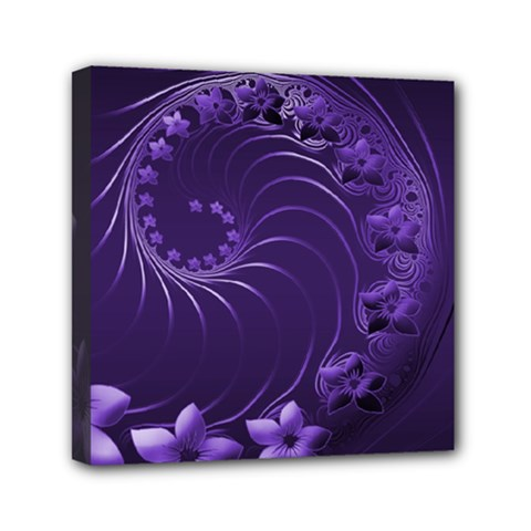 Dark Violet Abstract Flowers Mini Canvas 6  x 6  (Framed)
