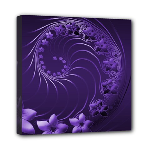 Dark Violet Abstract Flowers Mini Canvas 8  X 8  (framed)