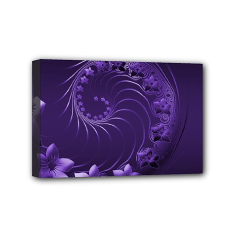 Dark Violet Abstract Flowers Mini Canvas 6  X 4  (framed)
