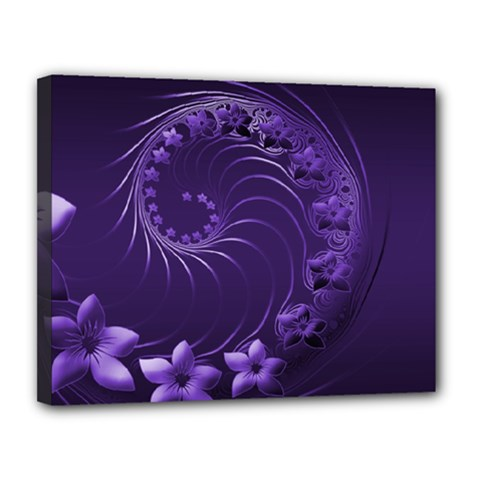 Dark Violet Abstract Flowers Canvas 14  x 11  (Framed)