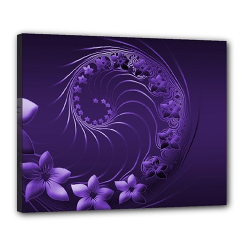 Dark Violet Abstract Flowers Canvas 20  x 16  (Framed)