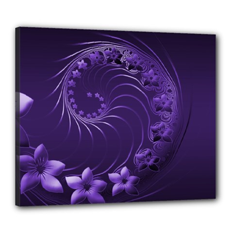 Dark Violet Abstract Flowers Canvas 24  x 20  (Framed)