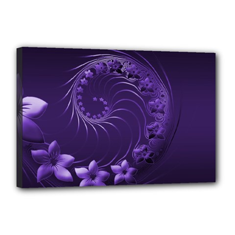 Dark Violet Abstract Flowers Canvas 18  x 12  (Framed)