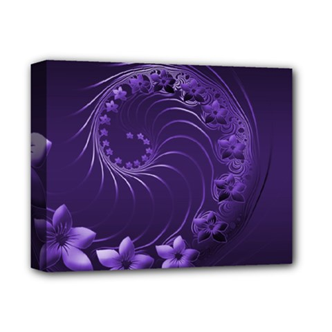 Dark Violet Abstract Flowers Deluxe Canvas 14  X 11  (framed)