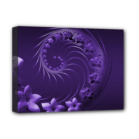 Dark Violet Abstract Flowers Deluxe Canvas 16  X 12  (framed)