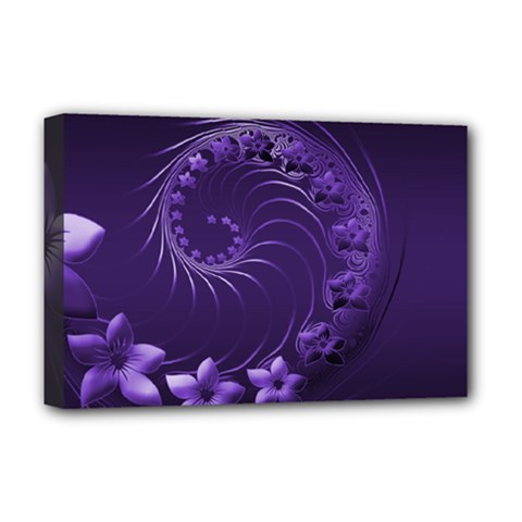Dark Violet Abstract Flowers Deluxe Canvas 18  X 12  (framed)