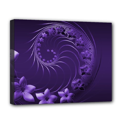 Dark Violet Abstract Flowers Deluxe Canvas 20  x 16  (Framed)