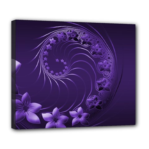 Dark Violet Abstract Flowers Deluxe Canvas 24  X 20  (framed)
