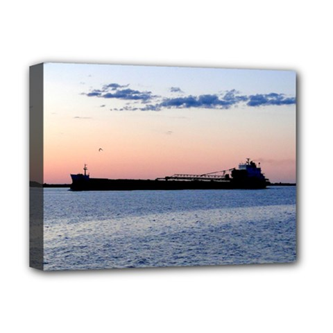 Ship Sunset Deluxe Canvas 16  x 12  (Framed)