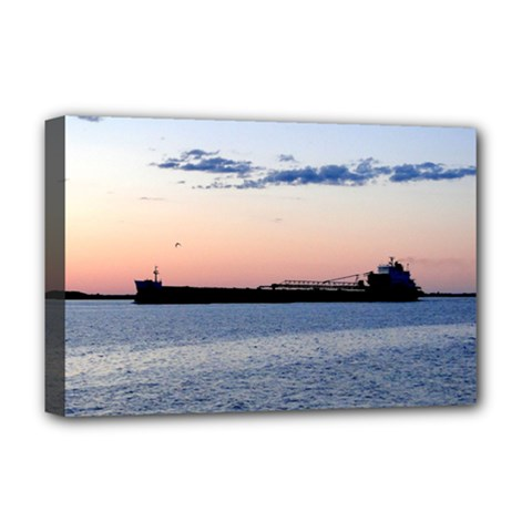 Ship Sunset Deluxe Canvas 18  X 12  (framed)