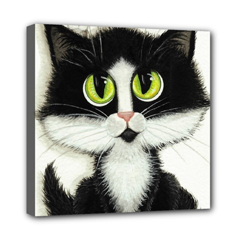Tuxedo Cat By Bihrle Mini Canvas 8  X 8  (framed)