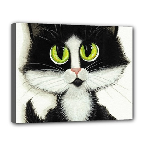 Tuxedo Cat By Bihrle Canvas 14  X 11  (framed)