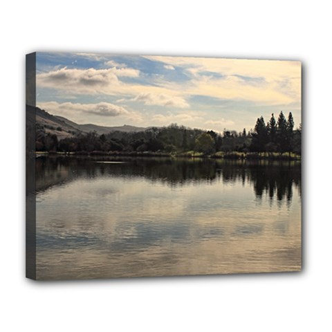 Morning Reflection On A Lake Canvas 14  X 11  (framed)