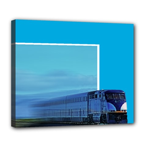 very fast moving train Deluxe Canvas 24  x 20  (Framed)