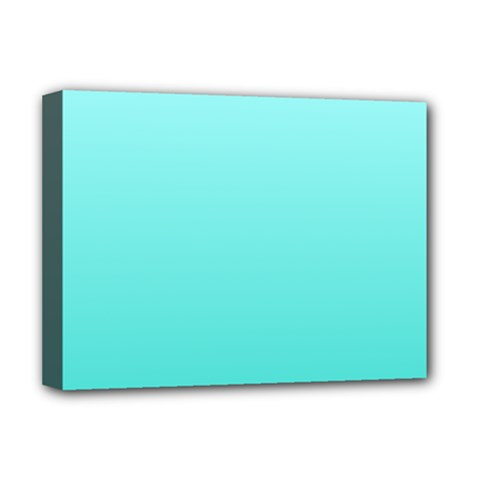 Celeste To Turquoise Gradient Deluxe Canvas 16  X 12  (framed)