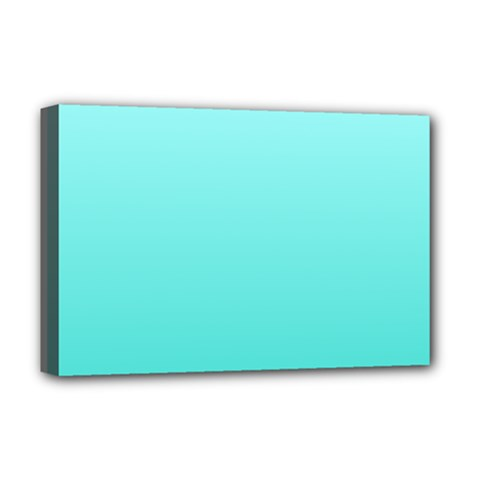Celeste To Turquoise Gradient Deluxe Canvas 18  X 12  (framed)