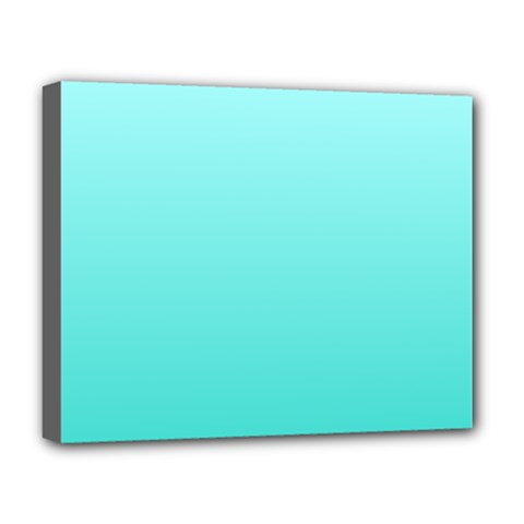 Celeste To Turquoise Gradient Deluxe Canvas 20  x 16  (Framed)
