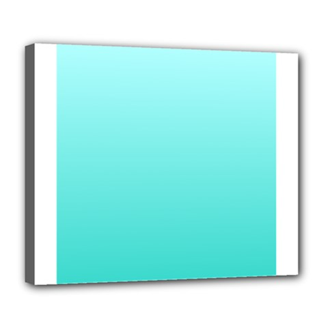 Celeste To Turquoise Gradient Deluxe Canvas 24  X 20  (framed)