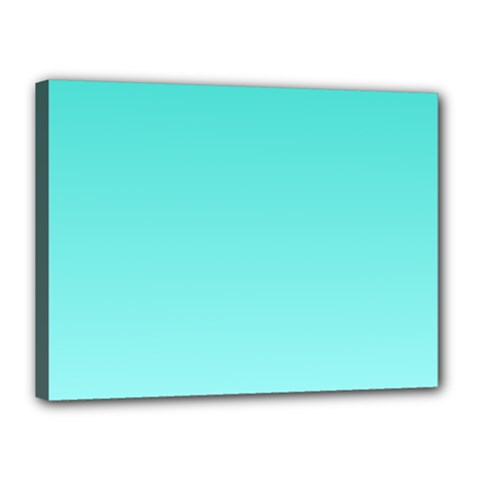 Turquoise To Celeste Gradient Canvas 16  X 12  (framed)
