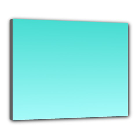 Turquoise To Celeste Gradient Canvas 20  X 16  (framed)