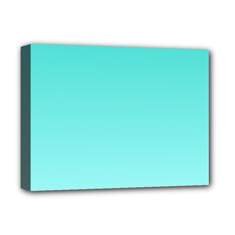 Turquoise To Celeste Gradient Deluxe Canvas 16  X 12  (framed)
