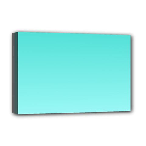 Turquoise To Celeste Gradient Deluxe Canvas 18  x 12  (Framed)