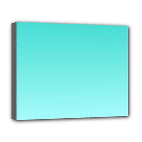 Turquoise To Celeste Gradient Deluxe Canvas 20  x 16  (Framed)