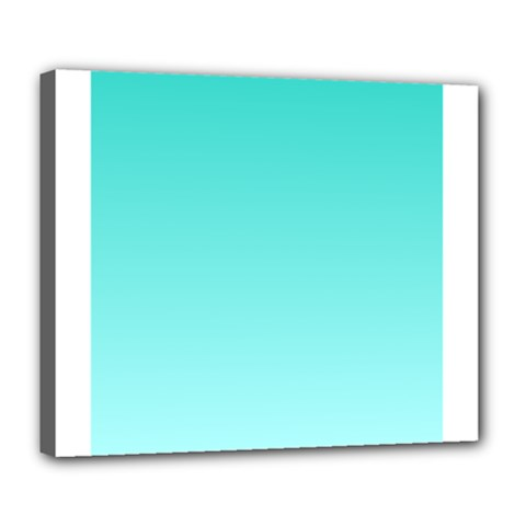 Turquoise To Celeste Gradient Deluxe Canvas 24  X 20  (framed)