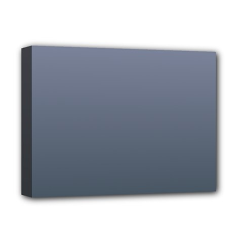 Cool Gray To Charcoal Gradient Deluxe Canvas 16  x 12  (Framed)