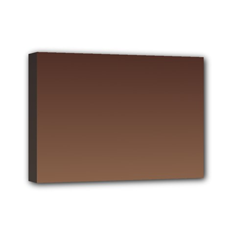 Seal Brown To Chamoisee Gradient Mini Canvas 7  x 5  (Framed)
