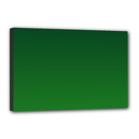 Dark Green To Green Gradient Canvas 18  x 12  (Framed)
