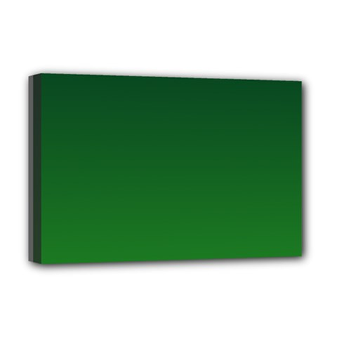 Dark Green To Green Gradient Deluxe Canvas 18  x 12  (Framed)