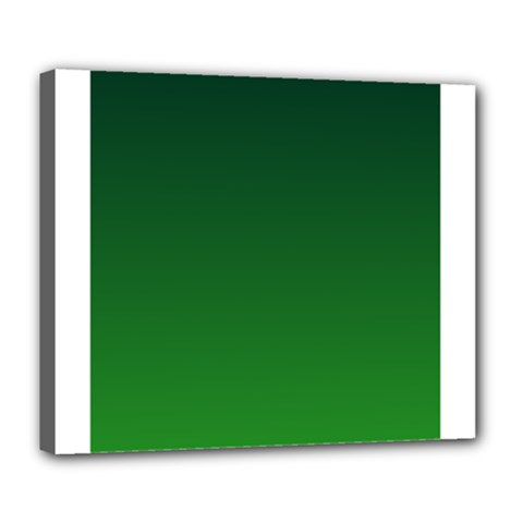 Dark Green To Green Gradient Deluxe Canvas 24  x 20  (Framed)