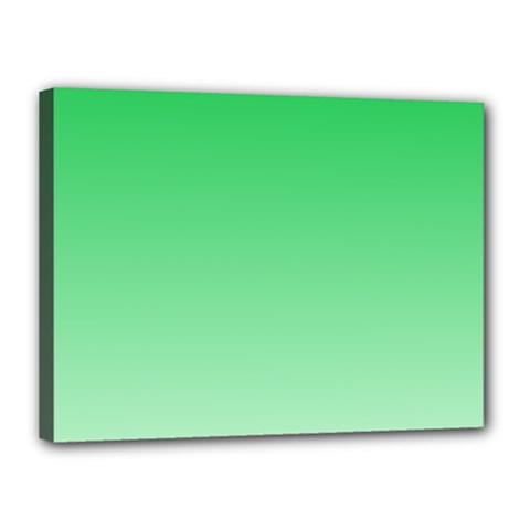 Dark Pastel Green To Pastel Green Gradient Canvas 16  X 12  (framed)