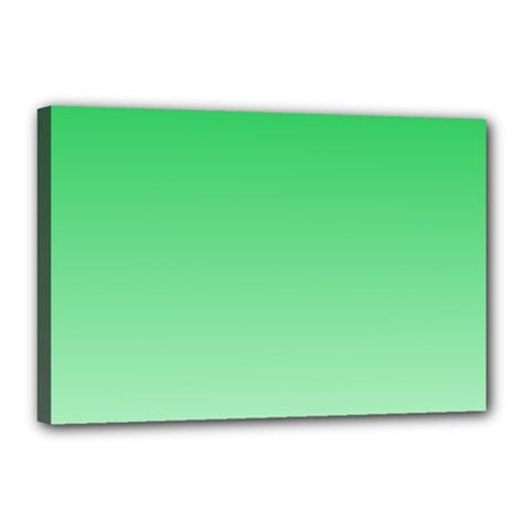 Dark Pastel Green To Pastel Green Gradient Canvas 18  x 12  (Framed)