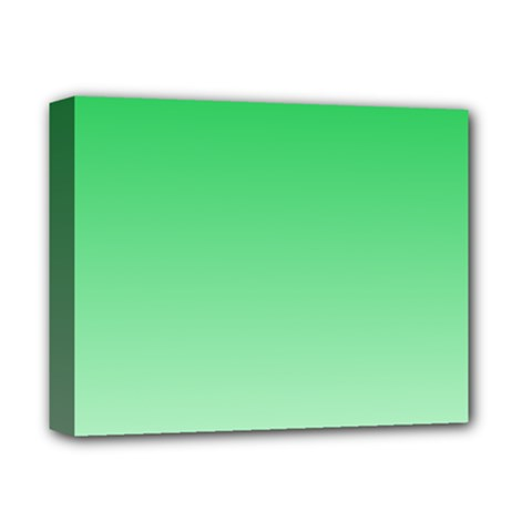 Dark Pastel Green To Pastel Green Gradient Deluxe Canvas 14  x 11  (Framed)