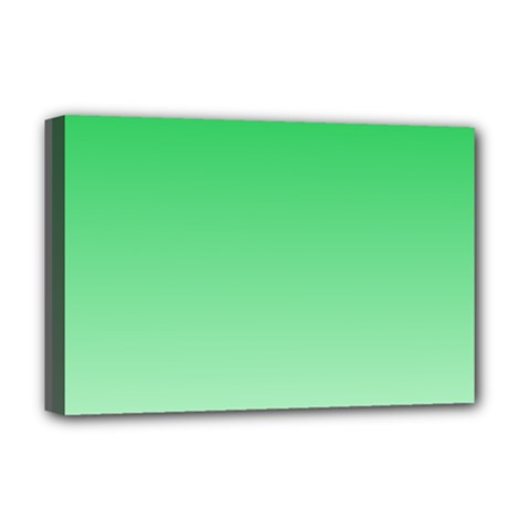 Dark Pastel Green To Pastel Green Gradient Deluxe Canvas 18  x 12  (Framed)