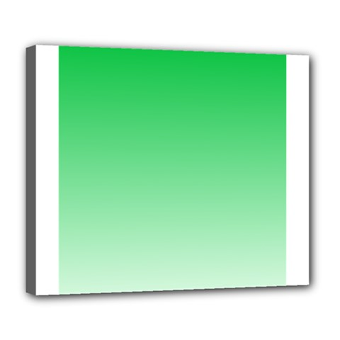 Dark Pastel Green To Pastel Green Gradient Deluxe Canvas 24  x 20  (Framed)
