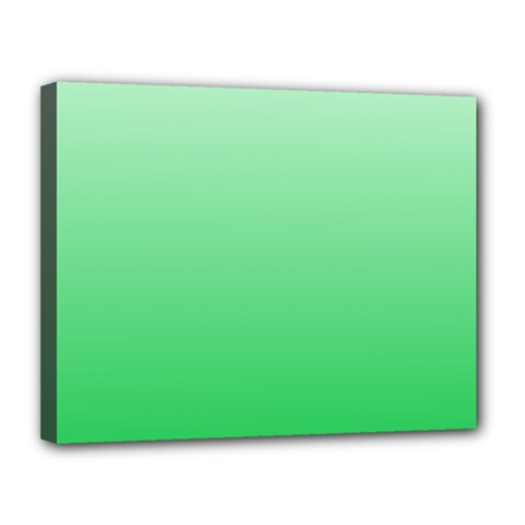 Pastel Green To Dark Pastel Green Gradient Canvas 14  x 11  (Framed)