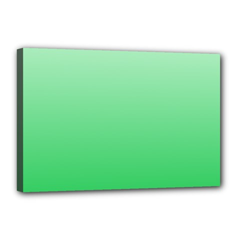 Pastel Green To Dark Pastel Green Gradient Canvas 18  X 12  (framed)